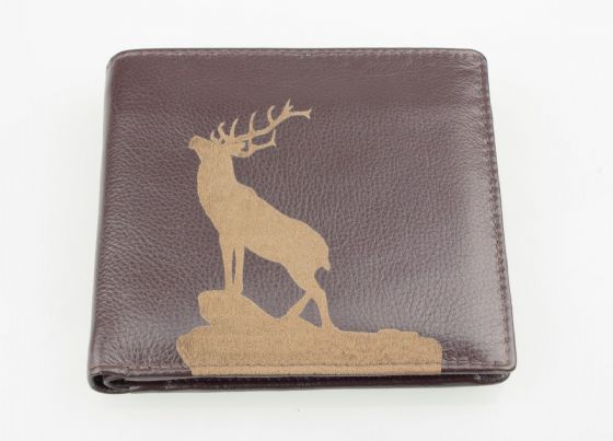 Engraved Leather Mens Wallet Stag Image Luxury Quality Brown Leather CoinPocket
